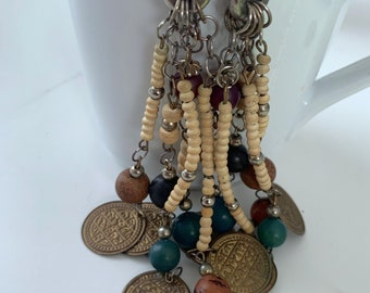 coin and wooden bead long dangle earrings earrings