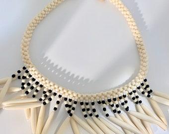 vintage statement beaded necklace