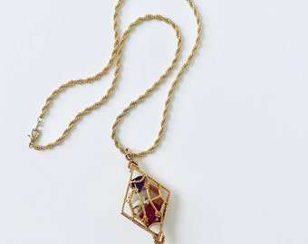 Caged stones pendant necklace with chain