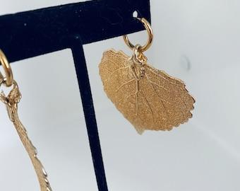 statement gold aspen leaf earrings