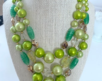 3-strand green bead necklace