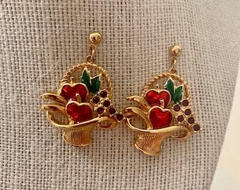 vintage rhinestone and enamel fruit basket earrings
