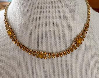 amber crystal rhinestone necklace - bridesmaid, prom, sweetheart dance, homecoming