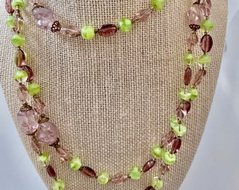 green and lavender bead layering necklace