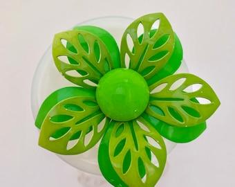 bright green retro flower statement brooch