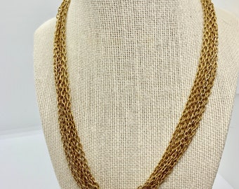 six strand classic gold tone necklace
