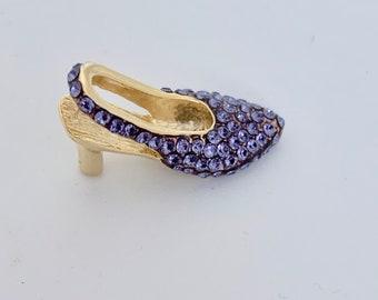 purple rhinestone slingback shoe charm