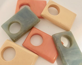 Stylish ring or pendant - mod - in butter, coral, or jade green
