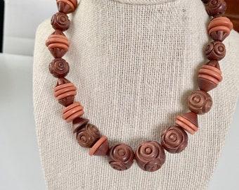 vintage statement wooden necklace - roses