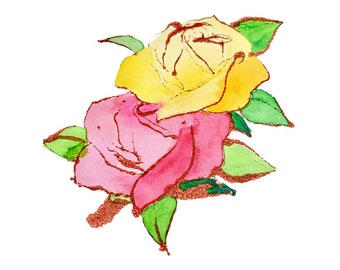 Pink and yellow roses print of watercolor and ink painting - 12x12
