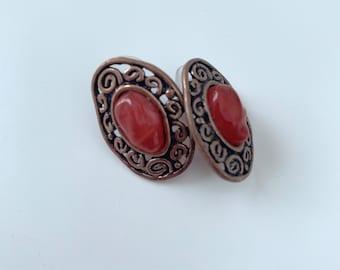 Brass and orange disc vintage earrings