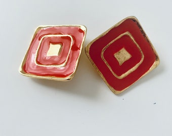 red and gold square clip-on earrings