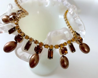 Brown crystal and pearl bib necklace - bridesmaid, prom, sweetheart dance, homecoming