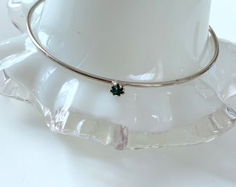 sterling silver and green stone petite and sweet bangle