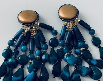 STATEMENT blue dangle earrings