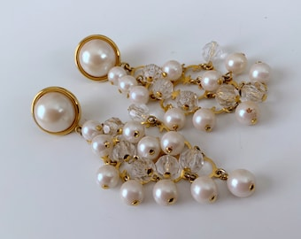 Statement chandelier pearl and crystal earrings