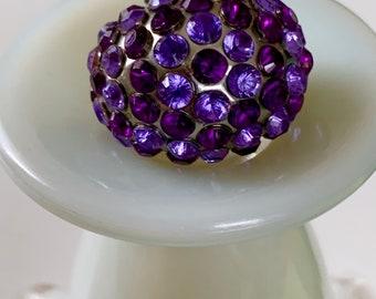 Statement rhinestone purple gunmetal ring