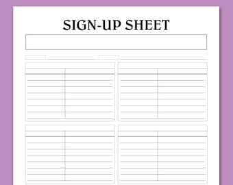 Potluck Sign Up Sheet Printable Bring And Share Potluck Etsy
