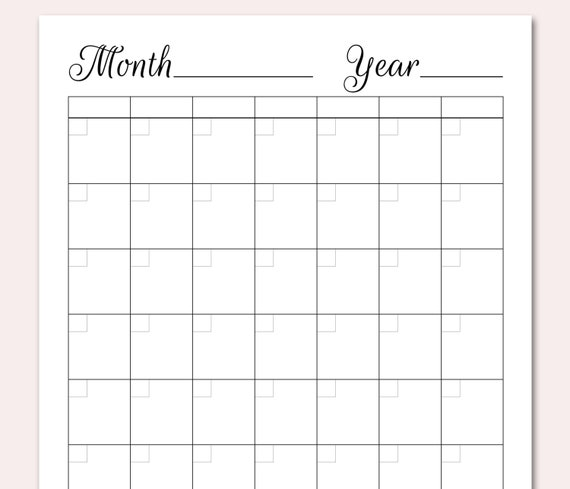 photograph regarding Printable Perpetual Calendars called BLANK Calendar Printable, Blank Perpetual Calendar, Do-it-yourself Calendar Planner, Blank Every month Calendar PDF, Customized, Basic, Towards Do, Planner, Table