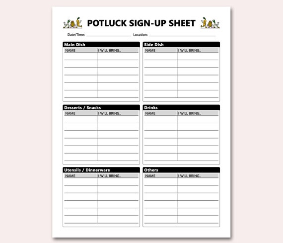 This is a picture of Breathtaking Printable Potluck Sign Up Sheets