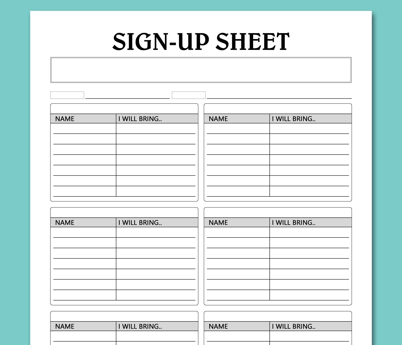 Potluck Sign Up Sheet Printable Template Sign Up Sheet Etsy