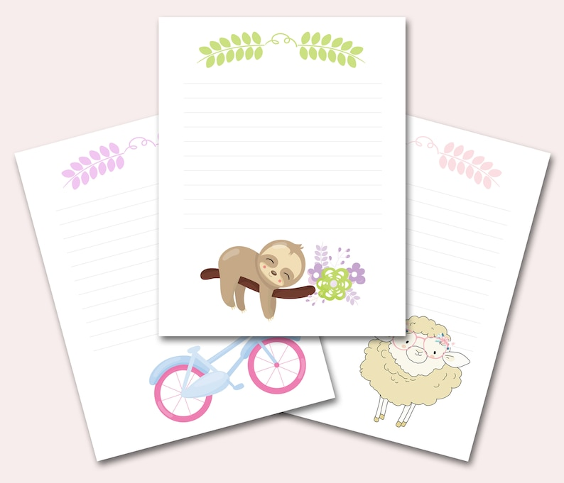 graphic about Printable Stationeries referred to as Lovely Stationery Printable Fixed of 3, Young children Stationeries, Sloth Stationery, Colourful Stationary Mounted, Sheets, Fast Down load, Letter, A4, A5