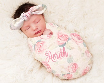 8de1918c9f6 Personalized Swaddle Blanket and Headband Set Rose Floral Monogrammed For Baby  Girl Blanket Baby Blanket