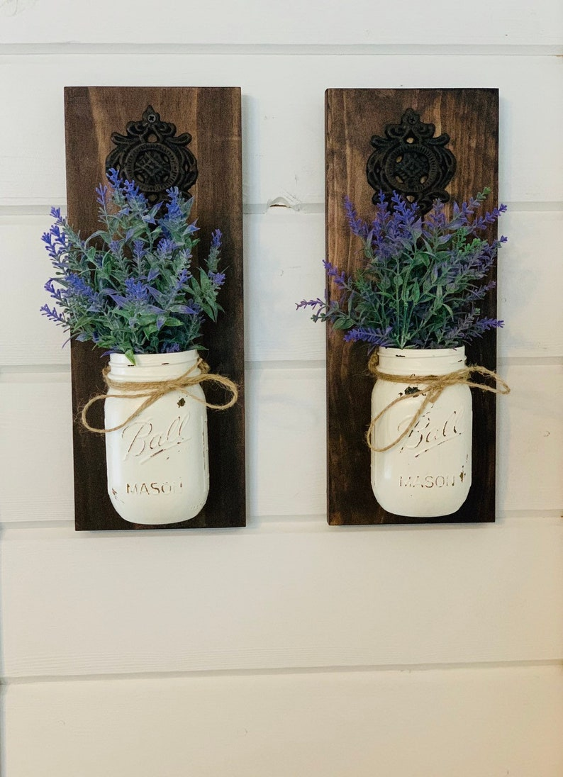 Mason jar sconce set Rustic home decor Farmhouse decor Lavender