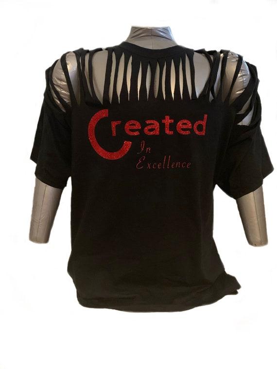 T-Shirt Glitter Cut Design Walking Goddess Amienyi Flower Green