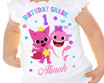 Baby Shark Birthday Shirt Girls