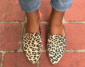17d1ac099a0a Rollie Women's Madison Mule Camel Leopard Pony, Leopard Print Haircalf  Mules Brown Flat Shoes for Women with Open Back