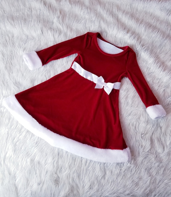 3t Red Christmas faux fur trimmed dress
