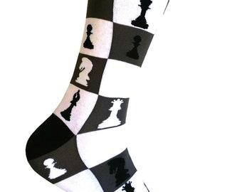 Men's Novelty Chess Pattern Dress Socks