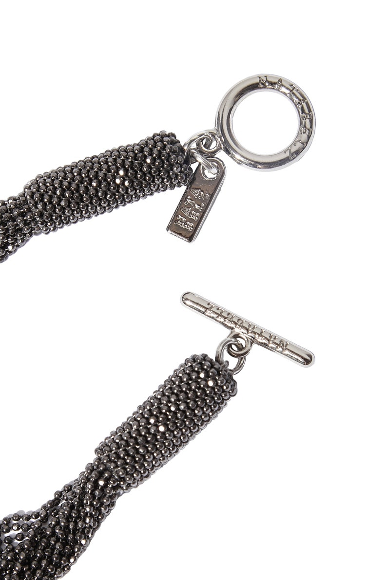 Bijou Dark silver Necklace Monili pendant Wedding accessories Beaded chain pearls Evening dress jewel chainlet Cocktail dress finery