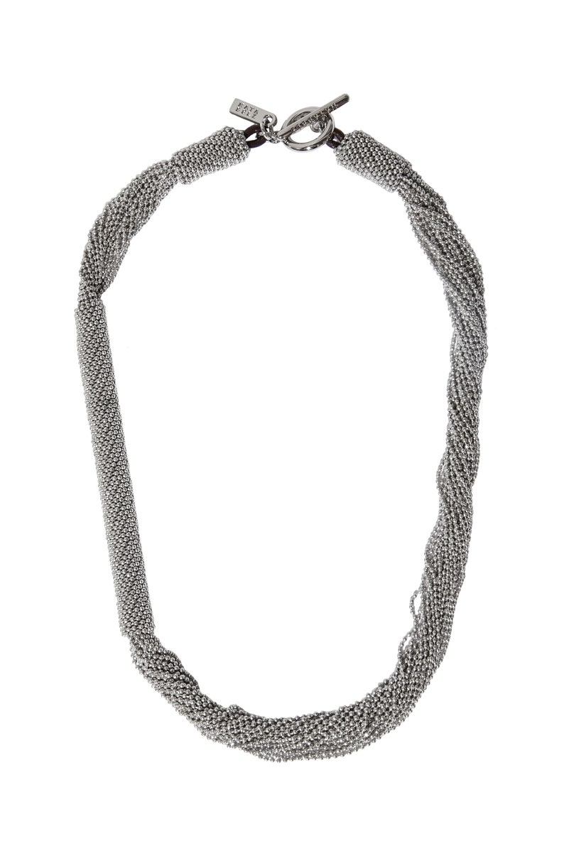 Monili Necklace Chunky Choker Darkened Silver Color Beads Cucinelli Style