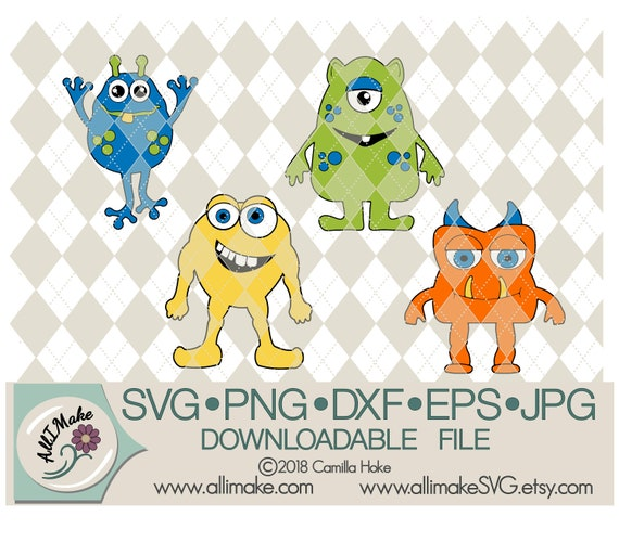 Svg File Monsters In 4 Styles Svg Dxf Eps Png Jpg Files Etsy