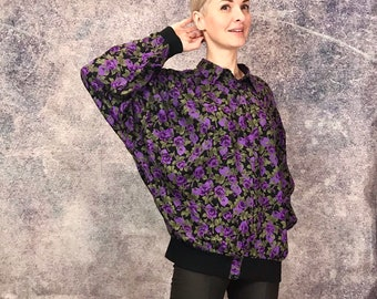 f3ebbb1b21e 80s Batwing button blouse, floral purple vintage blouse, bomber style  vintage top, bomber jacket buttons, oversize batwing blouse - size M/L