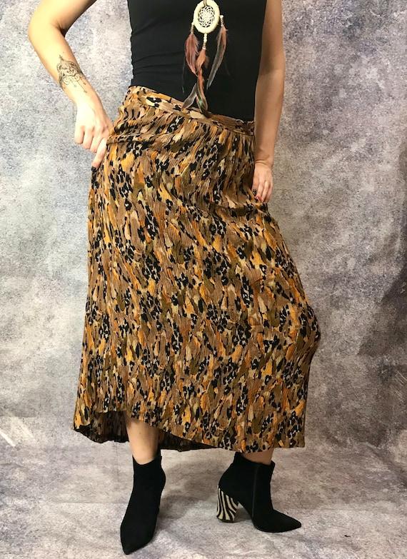90's Maxi skirt, animal print flattering skirt, br