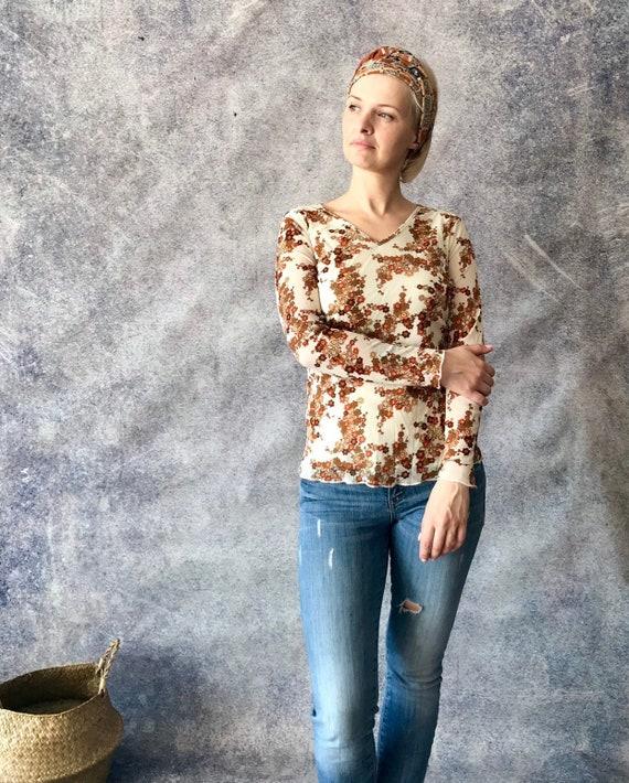 Vintage Hippie Floral 90/'s Blouse Top