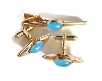 236ebdd2ba1e Vintage Anson Cufflink Tie Bar Set With Blue Glass