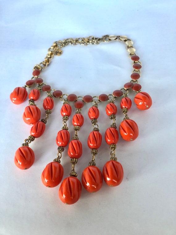 Vintage Hobe Orange Bead Demi Parure