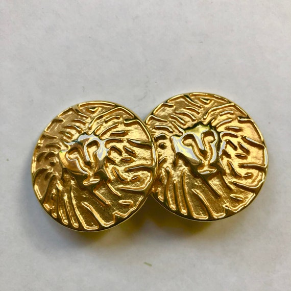 Vintage Anne Klein Lion Head Logo Clip Earrings