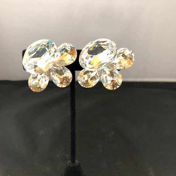 Huge Wendy Gell 1980s Crystal Cluster Clip Earring