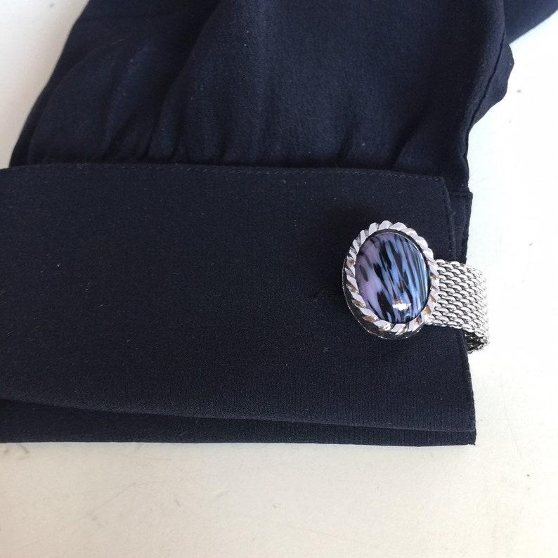 Vintage Dante Signed Silver Mesh Unisex Agate Stye Cufflinks