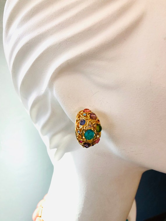 Vintage 1990's Joan Rivers Pastel Cabochon Earring