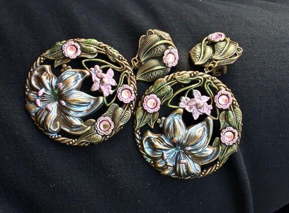 Huge Banana Bob Art Nouveau Floral Earrings