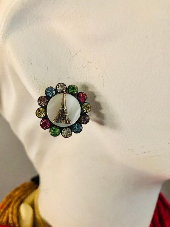 Vintage Paris France Souvenir Rhinestone Earrings