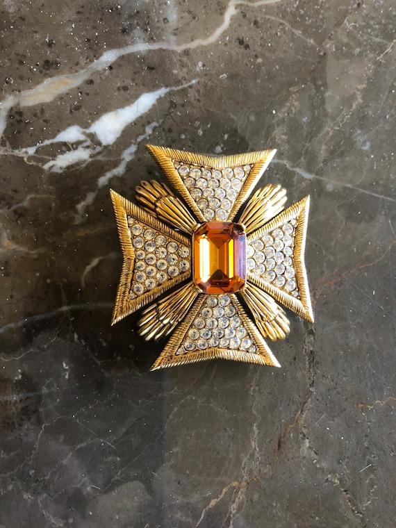 Vintage Joan Rivers Large Maltese Cross Brooch