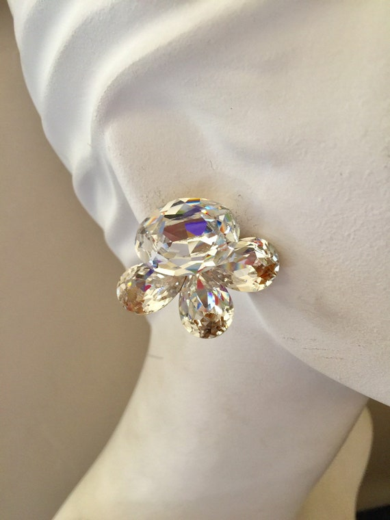 Huge Wendy Gell 1980s Crystal Cluster Clip Earring