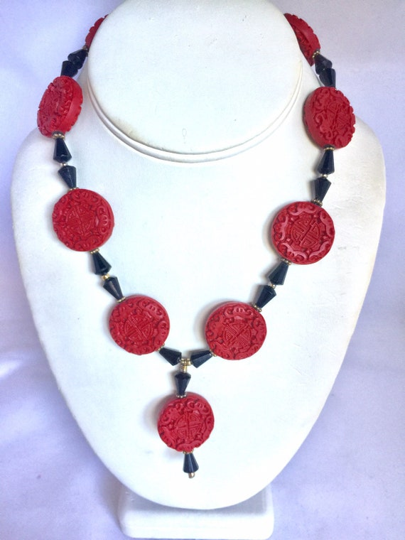 Vintage Faux Cinnabar and Black Onyx Chinoiserie C